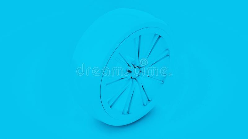 Roda de carro, fundo azul ilustração 3D ilustração stock