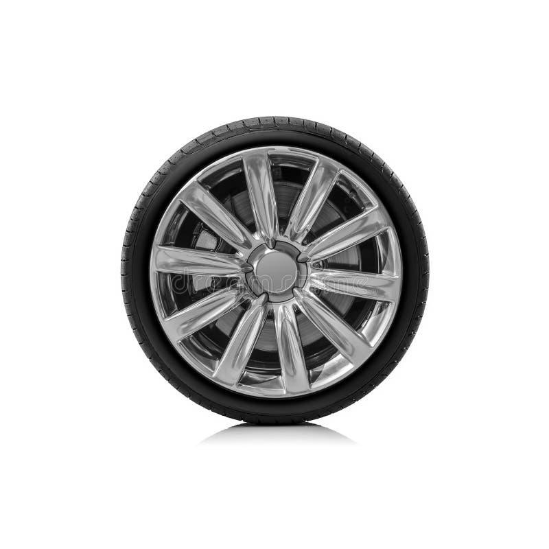 Roda de carro isolada no fundo branco imagem de stock royalty free