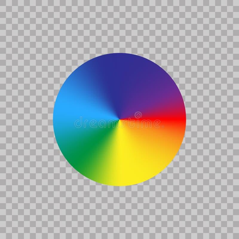 Roda de cor do espectro no fundo transparente Paleta de cores do círculo do arco-íris do inclinação Ilustração do vetor ilustração do vetor