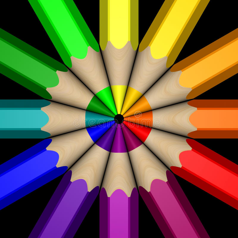 Roda de cor do lápis ilustração stock