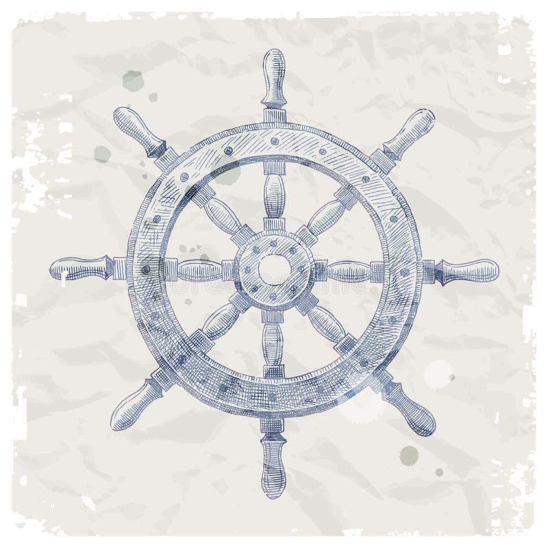 Roda de direcção do navio no fundo do papel do grunge ilustração do vetor