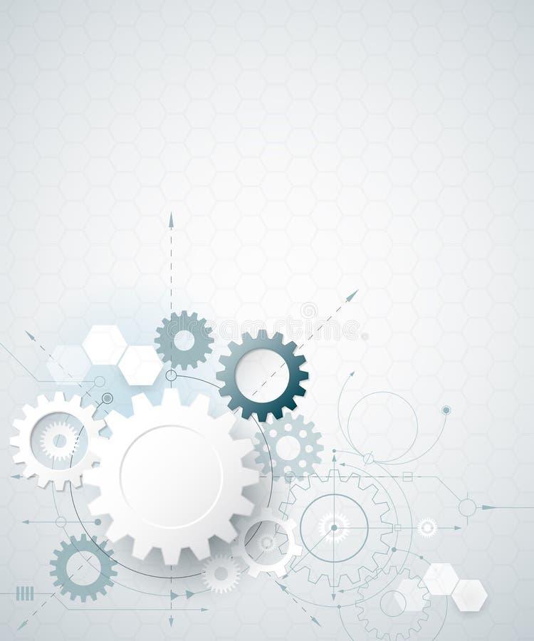 Roda de engrenagem da ilustração do vetor, hexágonos Tecnologia da olá!-tecnologia e fundo abstratos da engenharia ilustração stock