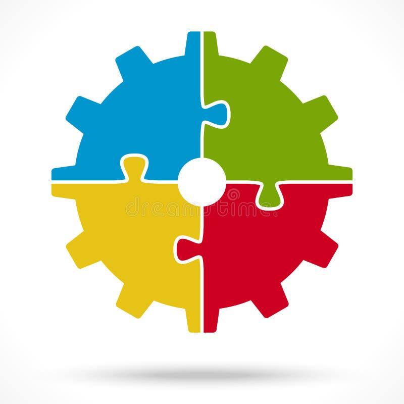 roda de engrenagem do enigma para o simbolismo dos trabalhos de equipa ilustração stock