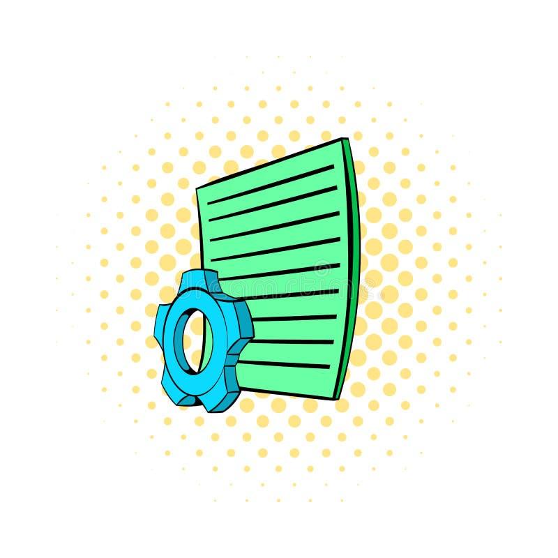 Roda de engrenagem e folha de papel o ícone, estilo da banda desenhada ilustração do vetor