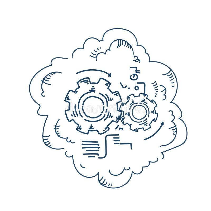 Roda de engrenagem que processa o conceito da estratégia do processo do mecanismo na garatuja branca do esboço do fundo ilustração stock