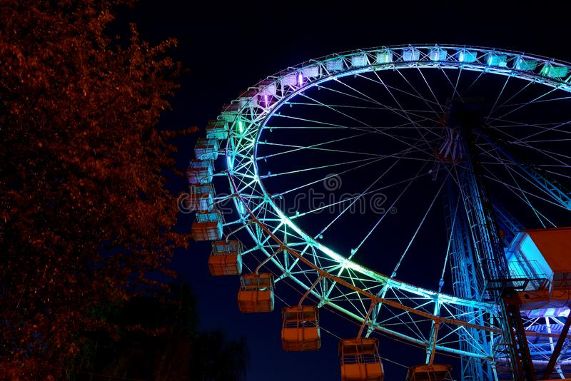 Roda de Ferris com ilumina??o azul e ?rvores na noite imagens de stock royalty free