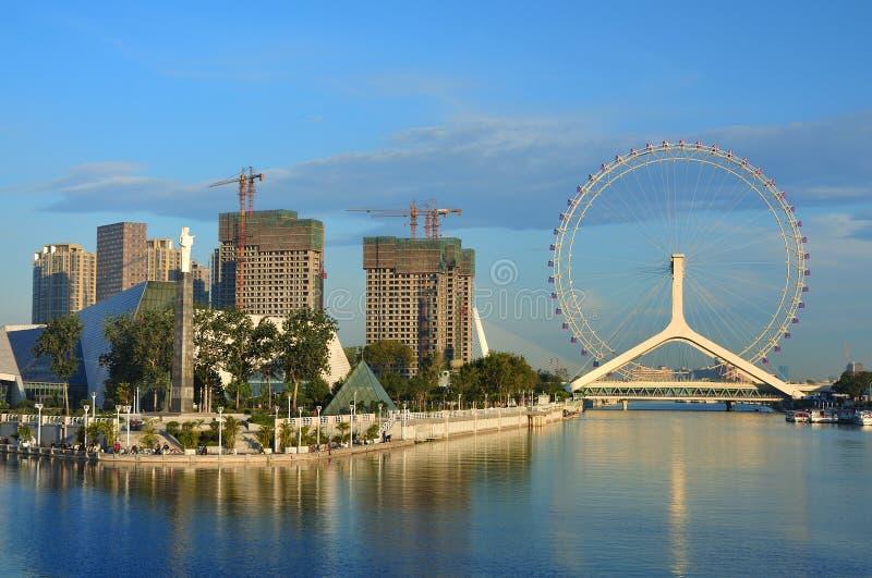 Roda de Ferris do olho de Paisagem-Tianjin da cidade de Tianjin imagens de stock royalty free