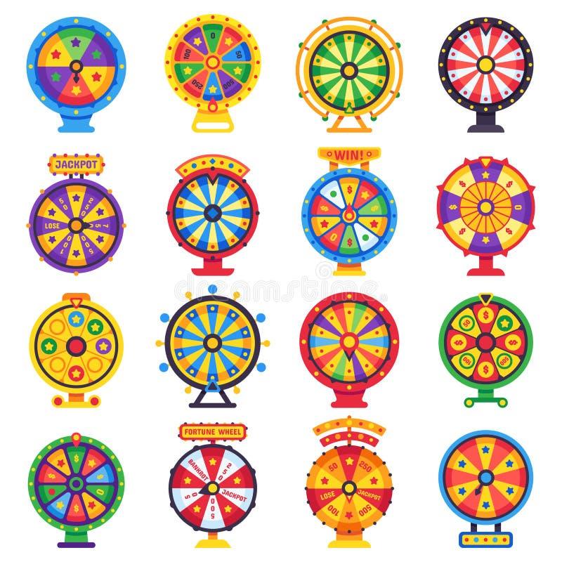 Roda de fortuna Rodas afortunadas de gerencio do jogo da rotação, grupo liso isolado roleta de gerencio do vetor do dinheiro ilustração royalty free