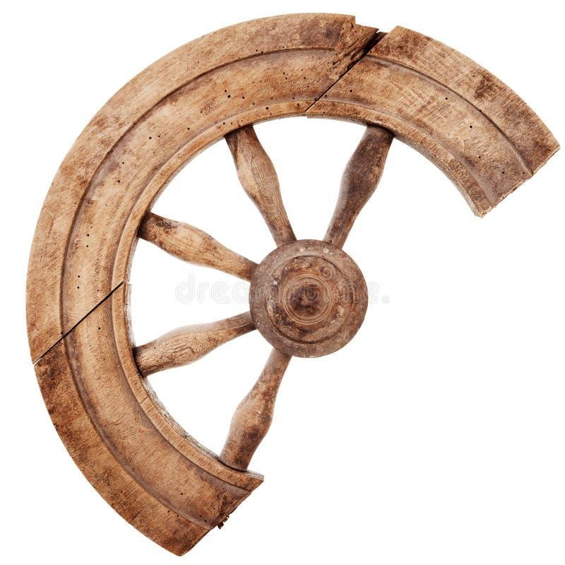 Roda de giro de madeira quebrada do vintage imagens de stock
