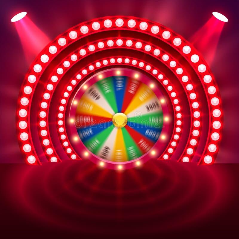Roda de giro realística da fortuna 3d Roleta afortunada ilustração stock
