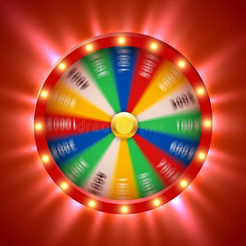 Roda de giro realística da fortuna 3d Roleta afortunada ilustração do vetor