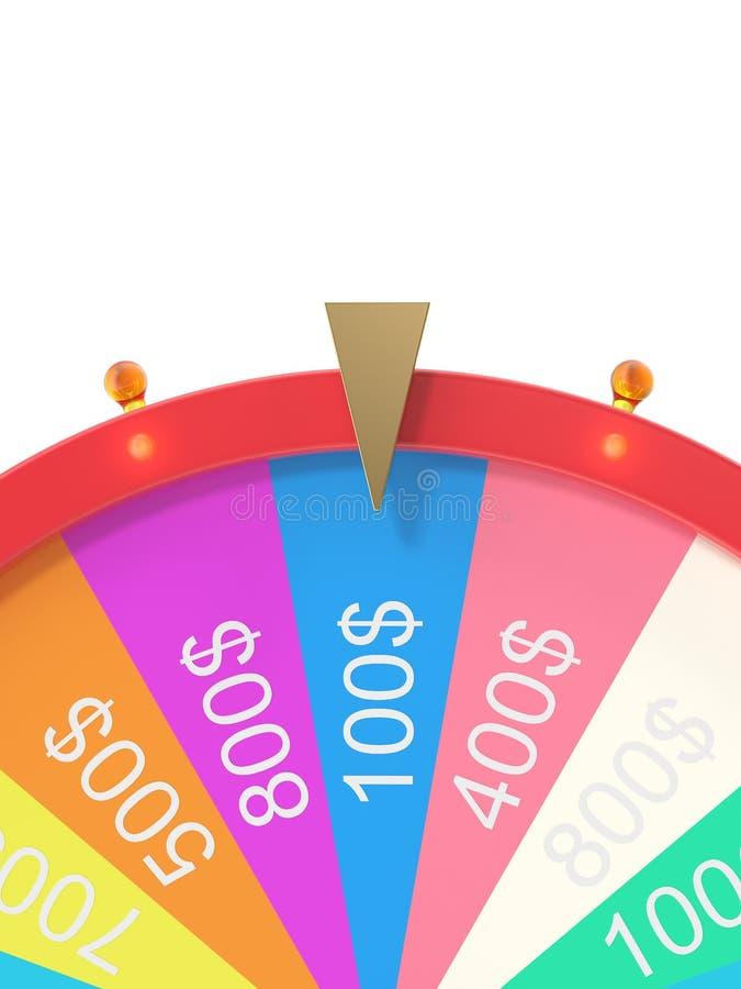 Roda de giro realística da fortuna, roleta afortunada Roda colorida da sorte ou da fortuna Fortuna da roda isolada no branco, 3d ilustração royalty free