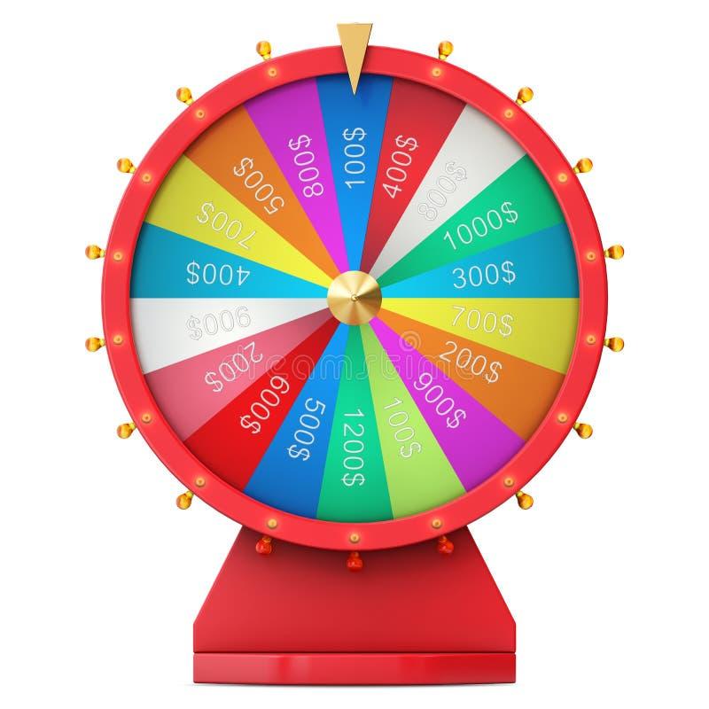 Roda de giro realística da fortuna, roleta afortunada Roda colorida da sorte ou da fortuna Fortuna da roda isolada no branco, 3d ilustração stock