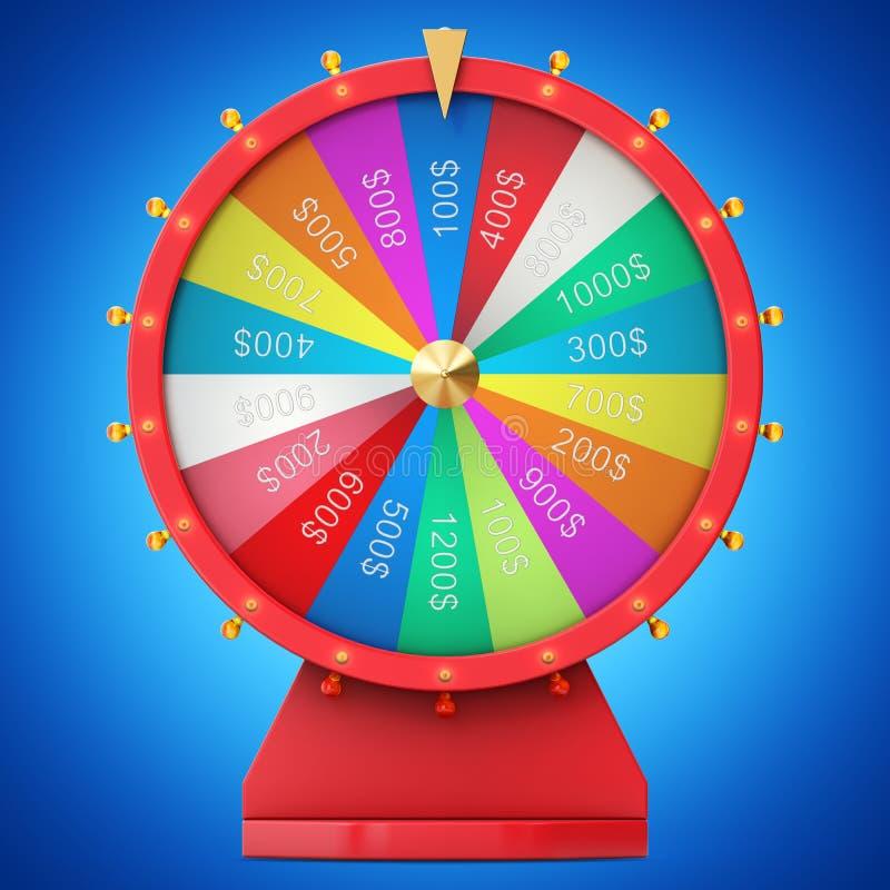 Roda de giro realística da fortuna, roleta afortunada Roda colorida da sorte ou da fortuna Fortuna da roda isolada no matiz azul ilustração royalty free