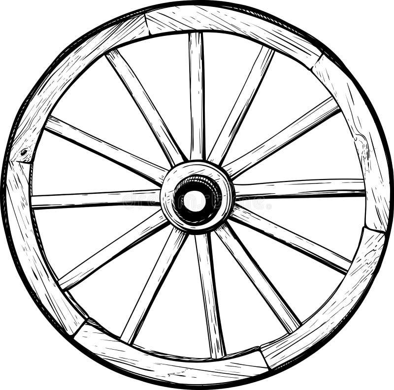 Roda de madeira velha ilustração do vetor