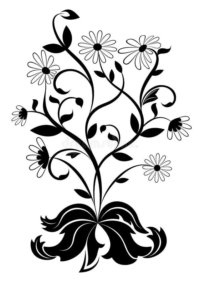 Roda de margarida preto e branco ilustração stock
