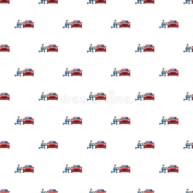 Roda de mudança do mecânico no teste padrão vermelho do carro ilustração do vetor