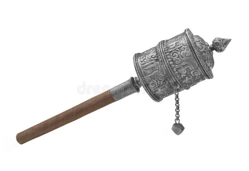 Roda de oração budista de prata isolada imagens de stock
