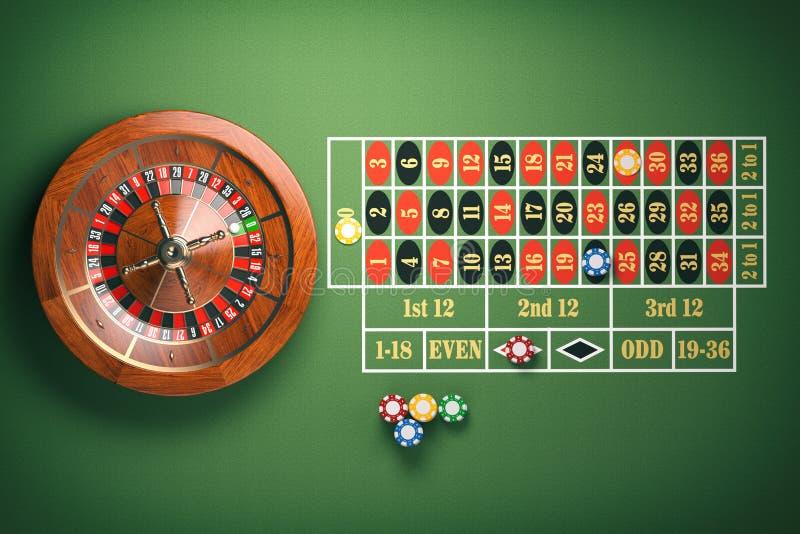 A roda de roleta do casino com casino lasca-se na tabela verde gambling ilustração stock