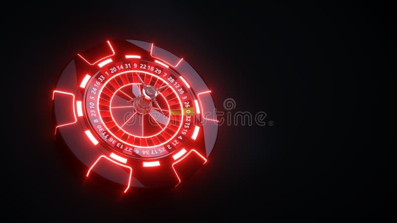 Roda de roleta do casino e Chips Gambling Concept - ilustração 3D ilustração stock