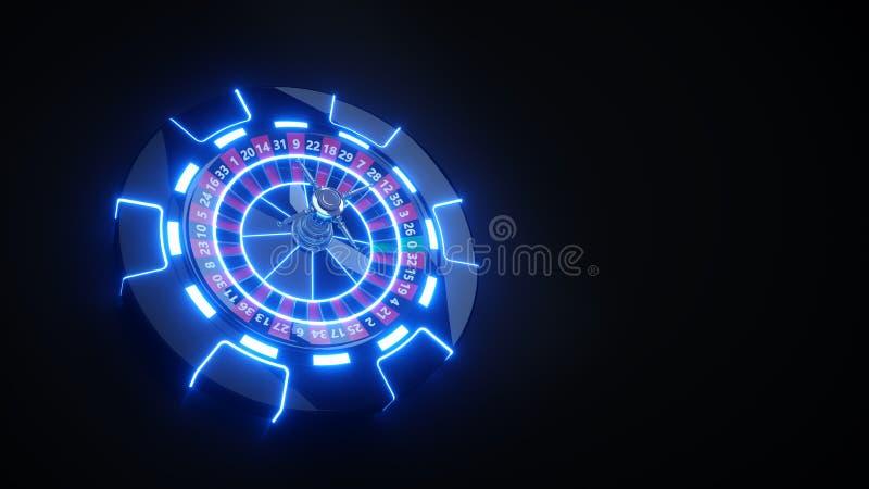 Roda de roleta do casino e luzes de Chips Gambling Concept With Neon - ilustração 3D ilustração stock