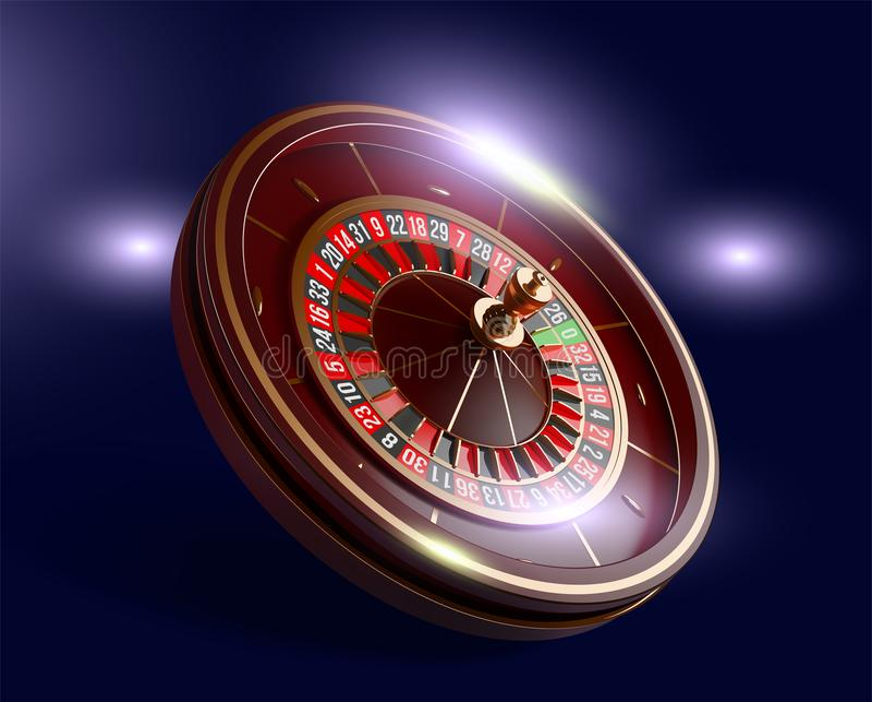 Roda de roleta do casino isolada no fundo azul ilustração realística do vetor 3D Roleta em linha do casino do pôquer ilustração stock