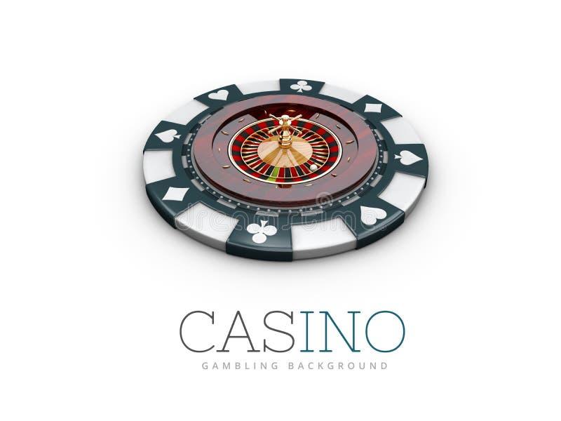 Roda de roleta do casino na microplaqueta do casino ilustração 3D Branco isolado ilustração do vetor