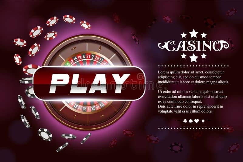 Roda de roleta do fundo do casino com dados e microplaquetas Projeto de conceito em linha da tabela do pôquer do casino Vista sup ilustração stock