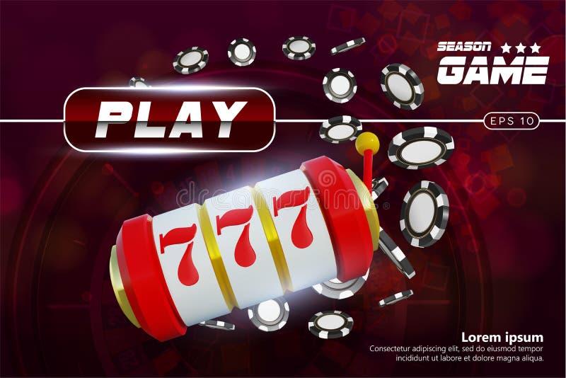 Roda de roleta do fundo do casino com jogo de microplaquetas Projeto de conceito em linha da tabela do pôquer do casino Slot mach ilustração royalty free