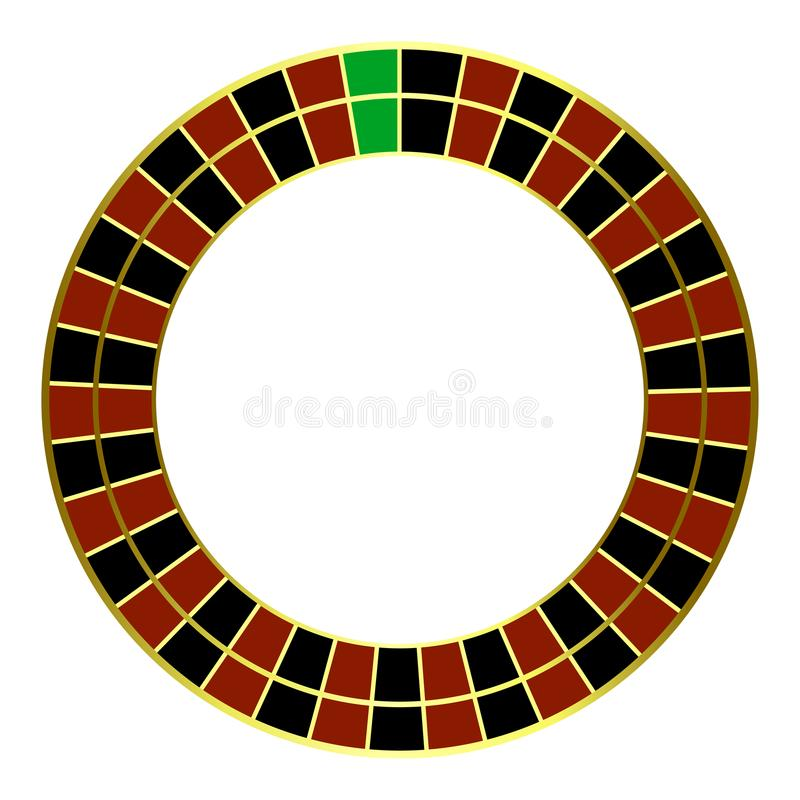 Roda de roleta europeia Conceito de jogo Vista superior Roda de roleta do casino isolada no fundo branco ilustração do vetor
