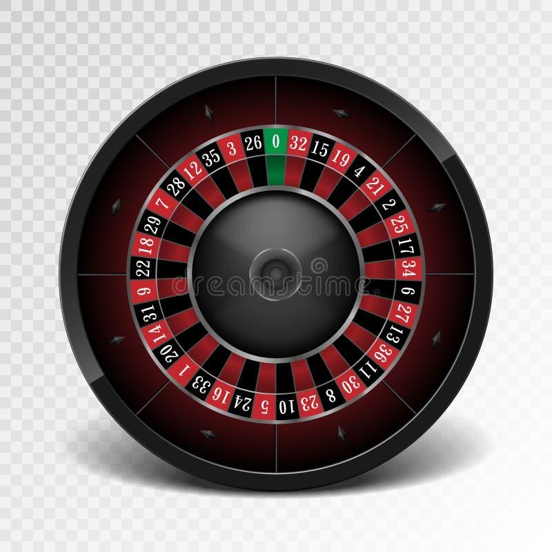 Roda de roleta preta realística do casino no fundo transparente Roda de roleta de jogo americana Vetor ilustração stock