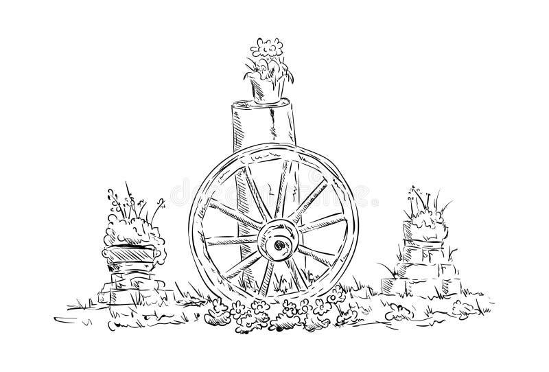 Roda de vagão de madeira velha ilustração stock