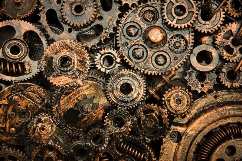 A roda denteada do metal roda o ligamento junto imagens de stock
