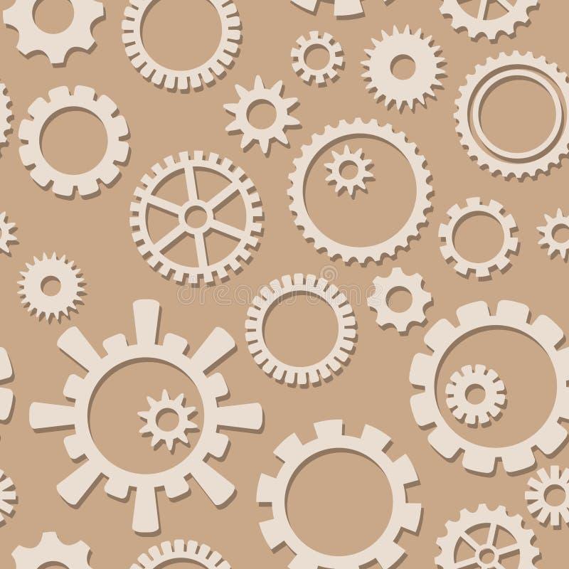 A roda denteada do vetor da cor clara alinha com sombra no teste padrão sem emenda - fundo industrial ilustração stock