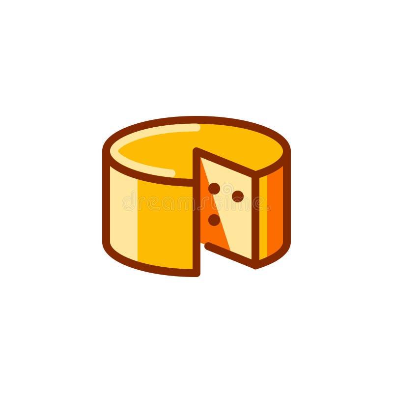 Roda do ícone do queijo Etiqueta dos produtos láteos Ingrediente para cheeseburgers, preparação da massa e outros pratos Vetor ilustração royalty free