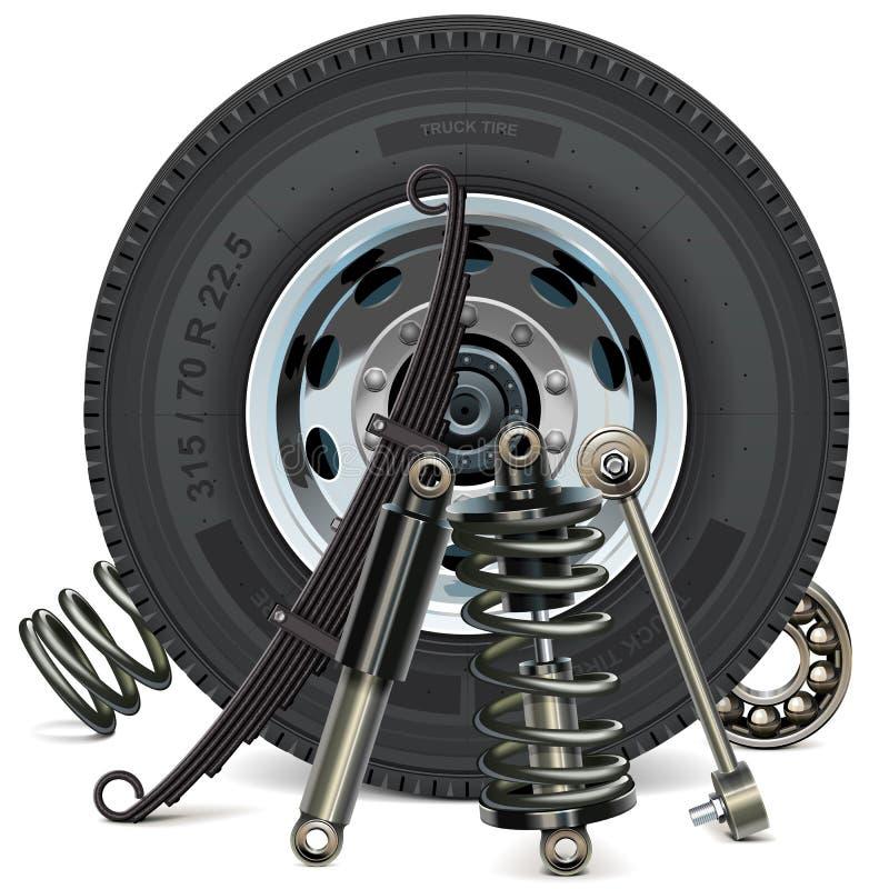 Roda do caminhão do vetor com peças da suspensão ilustração royalty free