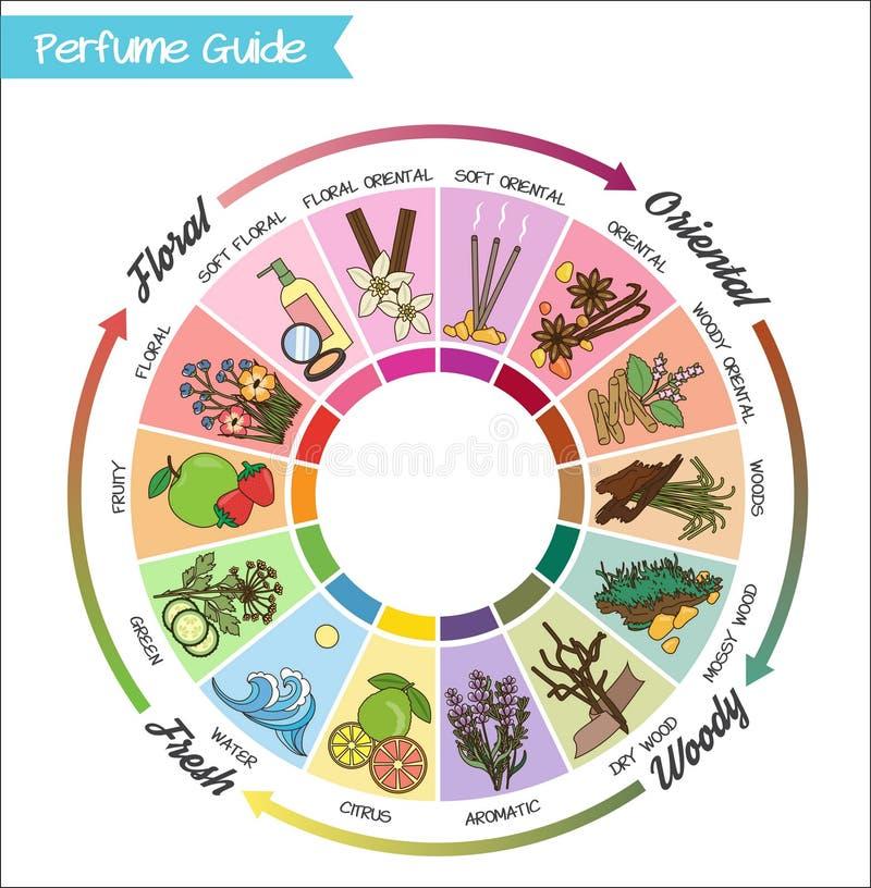 Roda do guia do perfume infographic ilustração royalty free