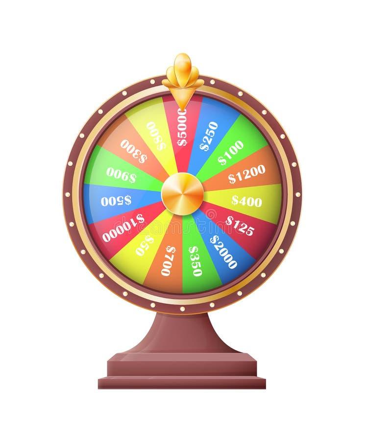 Roda do jogo automático das rodas da sorte ou da fortuna ilustração stock
