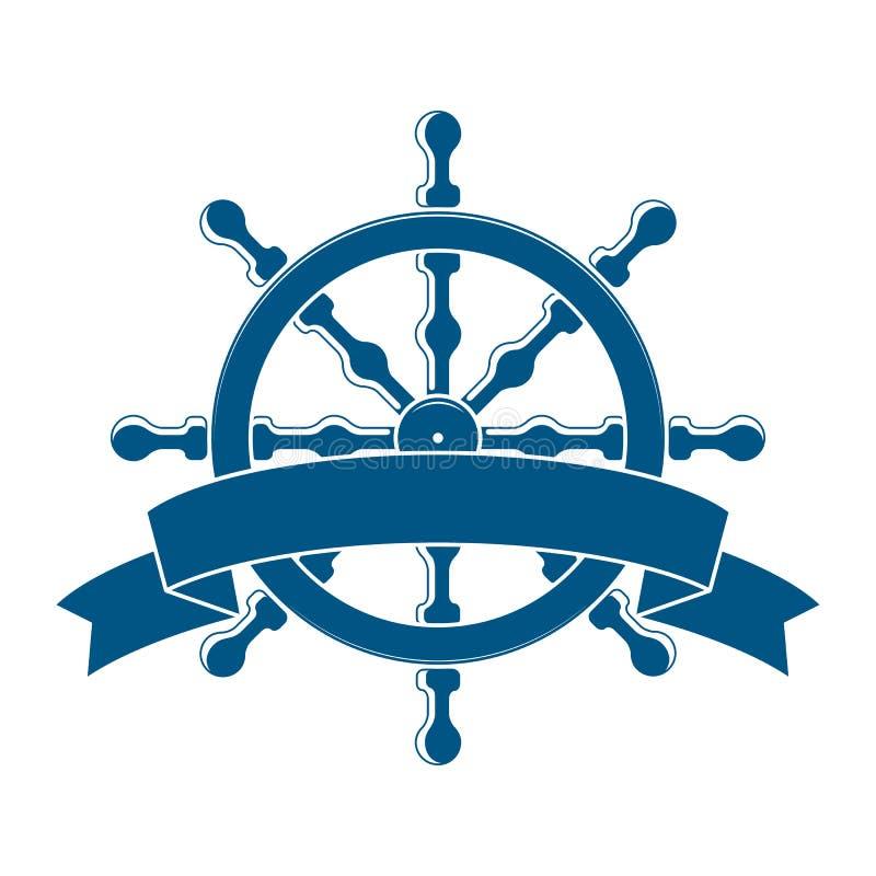 Roda do navio com bandeira. Emblema náutico ilustração royalty free