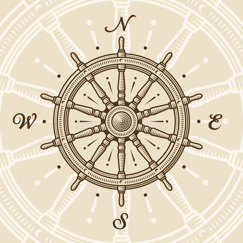 Roda do navio do vintage ilustração royalty free