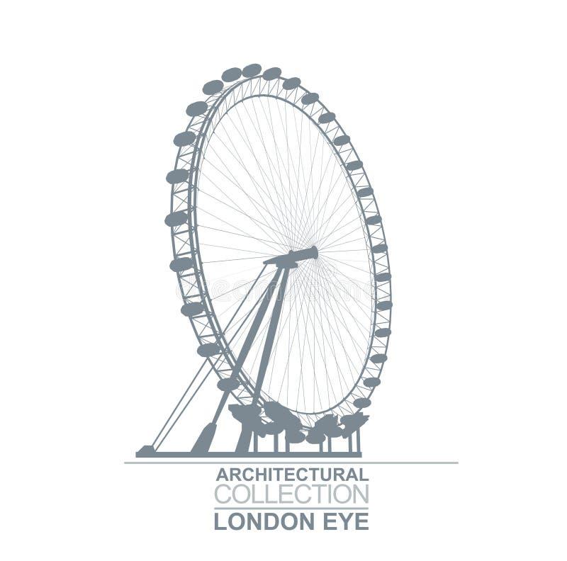 Roda do olho de Londres ilustração do vetor
