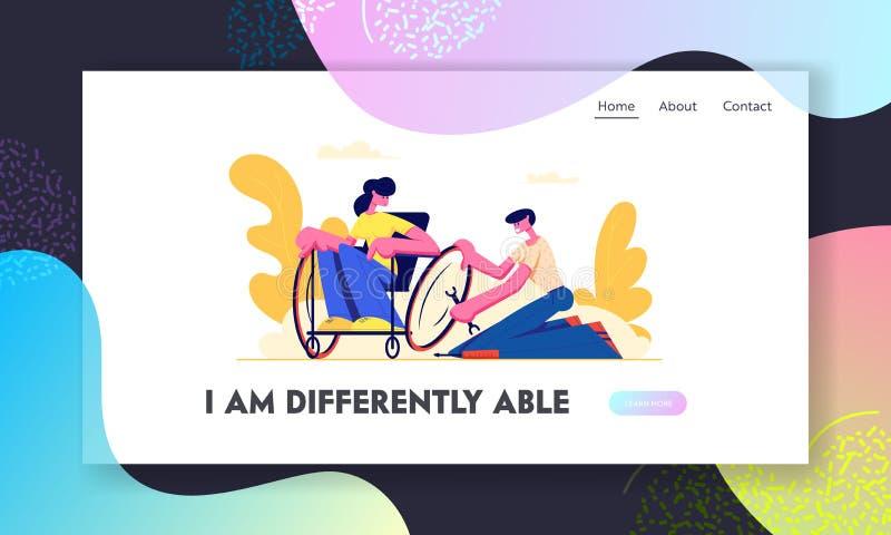 Roda do reparo do homem na cadeira de rodas onde sentando a mulher deficiente nova Amor, família, relações humanas, inabilidade,  ilustração stock