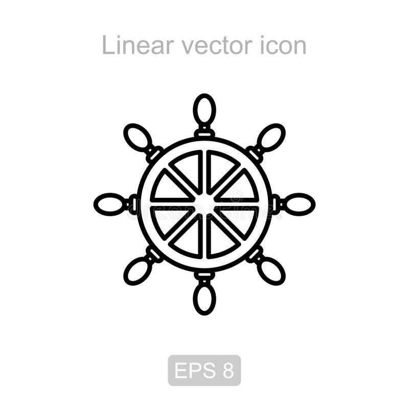 A roda dos navios Ícone linear ilustração royalty free