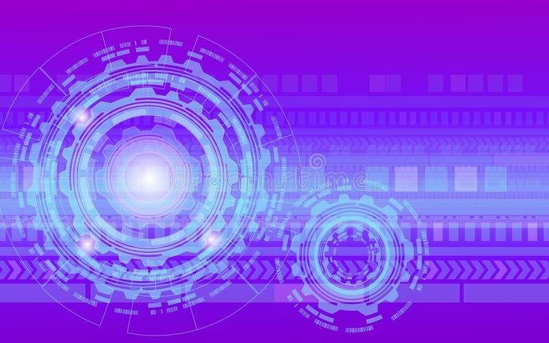 Roda e galo roxos de engrenagens da tecnologia digital com fundo, mecanismo do fundo da maquinaria industrial da roda denteada do ilustração do vetor