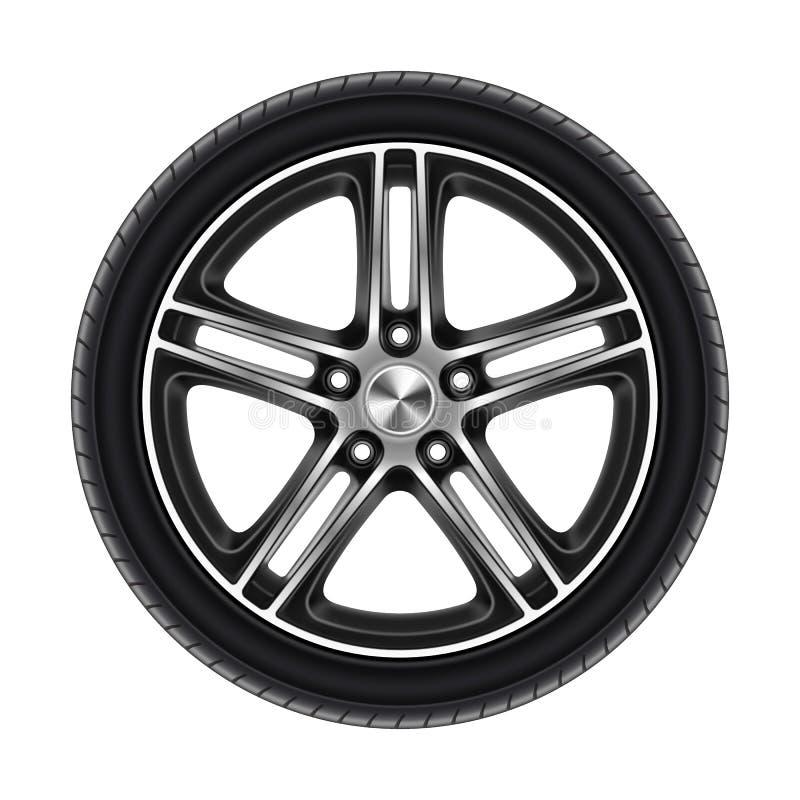 Roda isolada em pneu branco ou automóvel ilustração royalty free
