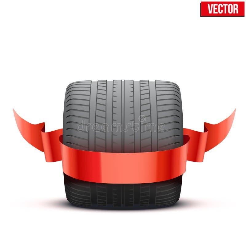 Roda larga da raça de carro dos esportes com fita do vencedor ilustração stock
