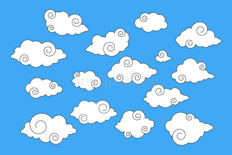 Roda o grupo das nuvens estilo japonês/chinês ilustração stock