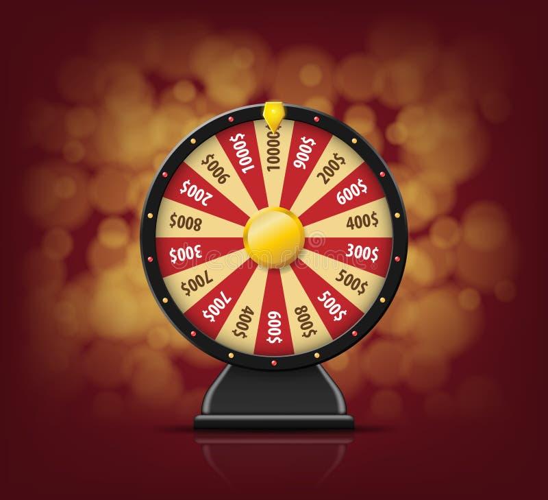 Roda preta da fortuna com em fundo do bokeh para o casino em linha, pôquer, roleta, slots machines, jogos de cartas 3d realístico ilustração do vetor