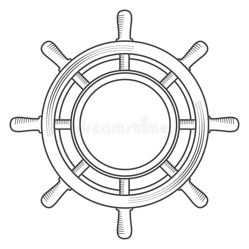 Roda retro do mar do vintage ilustração stock