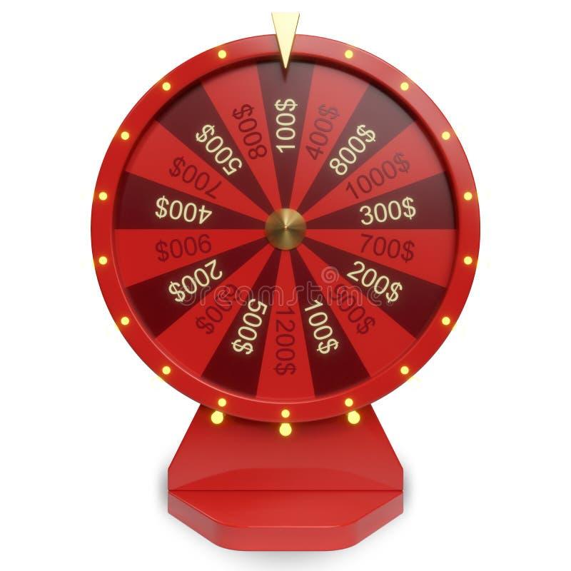 roda vermelha da ilustração 3d da sorte ou da fortuna Roda de giro realística da fortuna Fortuna da roda isolada no branco ilustração stock